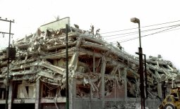 This September 1985 file photo shows a building in San Antonio Abad avenua in Mexico City collapse after the strongest earthquake to hit the capital in modern times. The 1985 Mexico City earthquake, measuring a giddy 8.1 on the Richter scale, caught Mexico off guard, killing thousands as it toppled housing blocks and office buildings in a city built on the soft mud left by a dried-up pre-Hispanic lake. Some 12,000 people are believed to have died in this earthquake, with another 40,000 injured. President Vicente Fox will host a memorial service on Monday for the victims as the country marks the quake's 20th anniversary. REUTERS/Daniel Aguilar/File